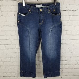 BABY PHAT   cropped cuffed embellished jeans